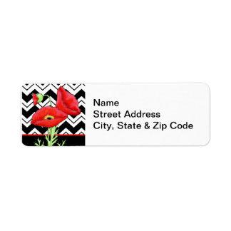 Red Poppy Black & White Zizzag Chevron Label Return Address Label