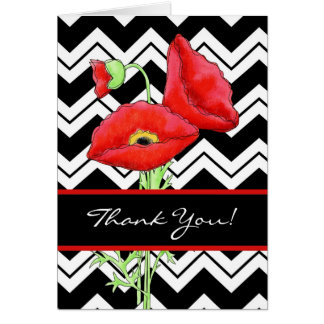 Red Poppy Black & White Zizzag ChevronThank You Greeting Card