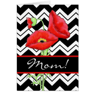 Red Poppy Black & White Zizzag Mother Day Greeting Card