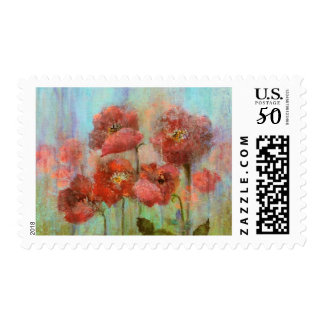 Red Poppy Botanical Flowers Postage