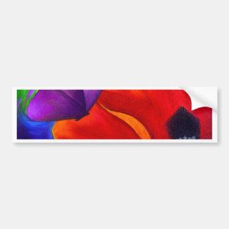 Red Poppy Butterfly Painting Art - Multi Car Bumper Sticker