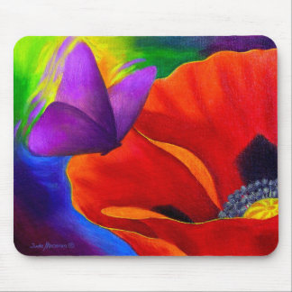 Red Poppy Butterfly Painting Art - Multi Mouse Mat
