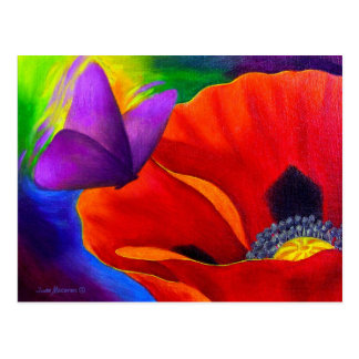 Red Poppy Butterfly Painting Art - Multi Postcard