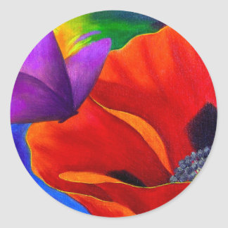 Red Poppy Butterfly Painting Art - Multi Classic Round Sticker