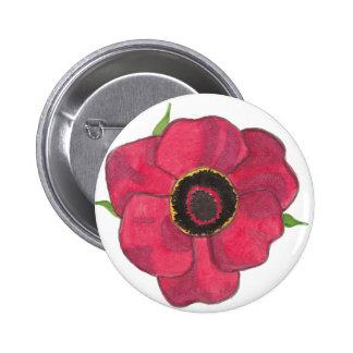 Red Poppy Button