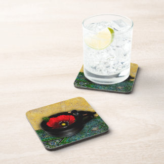 Red Poppy Cafe Photographic Art Coasters