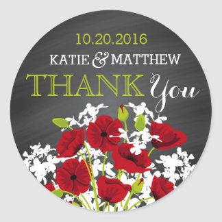 Red Poppy Chalkboard Modern Thank You Label Classic Round Sticker