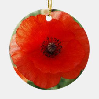 Red Poppy Christmas Ceramic Ornament