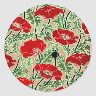 Red Poppy Classic Round Sticker