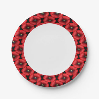 Red poppy cluster edge buffet party paper plate