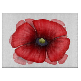 Red Poppy cluster Glass Chopping Board