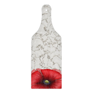 Red Poppy cluster on marble Glass Chopping Paddle Cutting Board