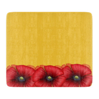 Red Poppy cluster on yellow Glass Chopping Board Cutting Boards