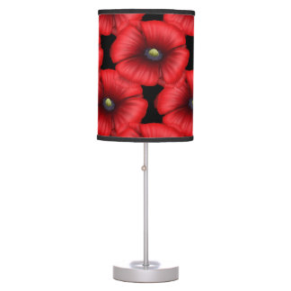 Red poppy cluster pattern table lamp