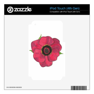 Red Poppy Decals For iPod Touch 4G