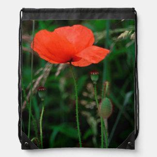 Red Poppy Drawstring Bag