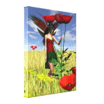 Red Poppy Fairy in a Summer Field Stretched Canvas Print