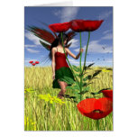 Red Poppy Fairy in a Summer Field Greeting Cards