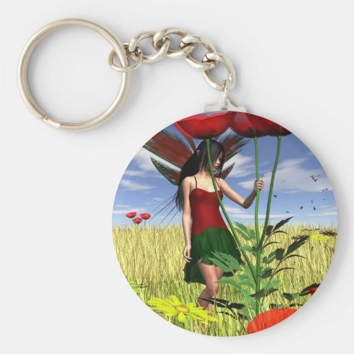 Red Poppy Fairy in a Summer Field Keychains