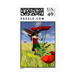 Red Poppy Fairy in a Summer Field Postage
