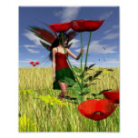 Red Poppy Fairy in a Summer Field Poster