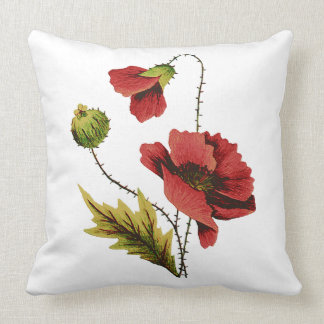 Red Poppy Faux Embroidery Pillow