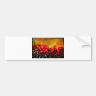 Red poppy field bumper stickers