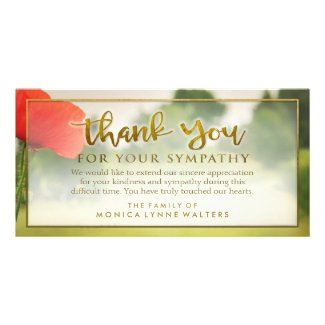 Red Poppy Field Golden Thank You Sympathy Card