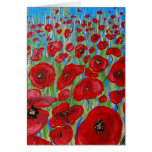 RED Poppy Field Greeting Cards