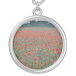 Red Poppy field, Kent, England flowers Round Pendant Necklace