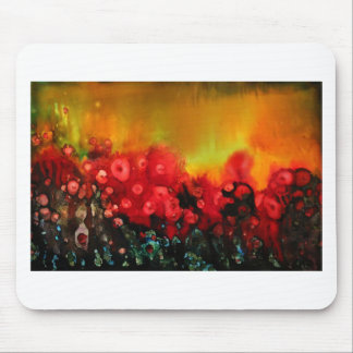 Red poppy field mouse pad