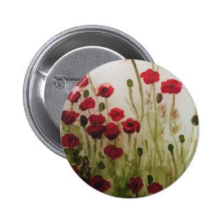 Red poppy field pinback button