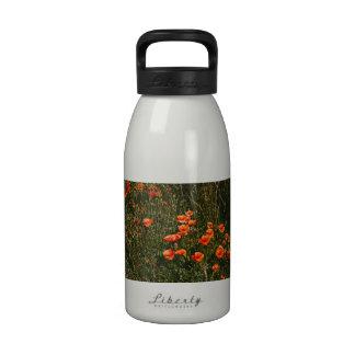 Red Poppy Field, Wildflowers Meadow, Nature Reusable Water Bottles