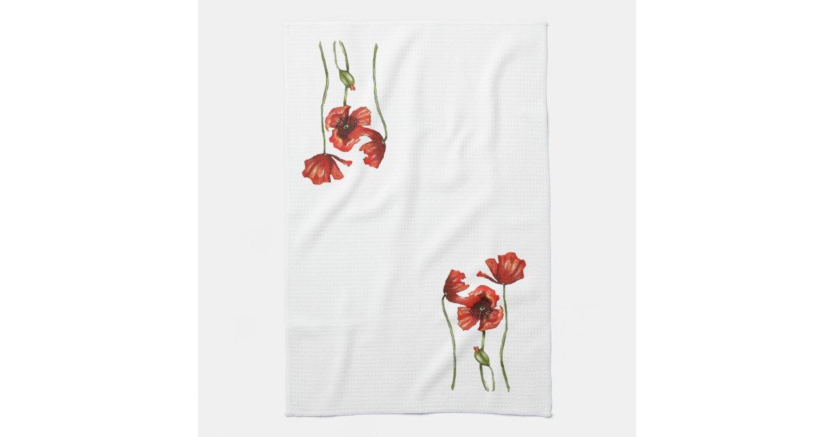 red poppy floral design kitchen towels zazzle