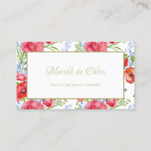 Red Poppy Floral Gold Script Beauty Boutique Business Card