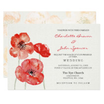 Red Poppy floral wedding invitations