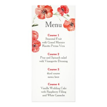 red poppy floral wedding menu