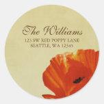 Red Poppy Flower Blossom Address Label Classic Round Sticker