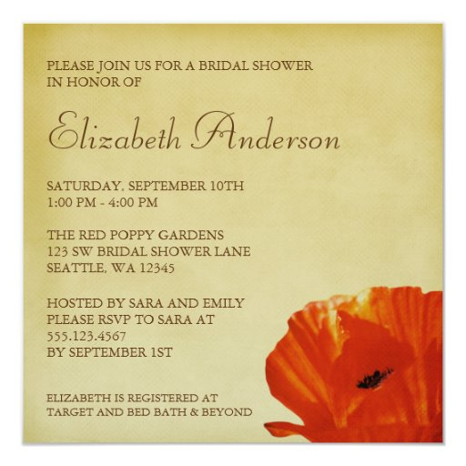 Red Poppy Flower Blossom Bridal Shower 5.25x5.25 Square Paper Invitation Card