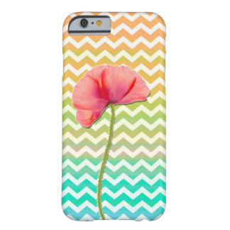 Red poppy flower chevron pattern background barely there iPhone 6 case