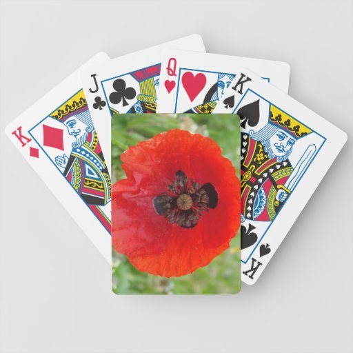 Red Poppy Flower Custom Deck of Playing Cards