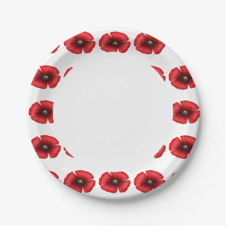 Red poppy flower edge bbq buffet party paper plate