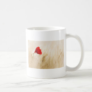 Red Poppy Flower in Field of Ripe Cereals Coffee Mug