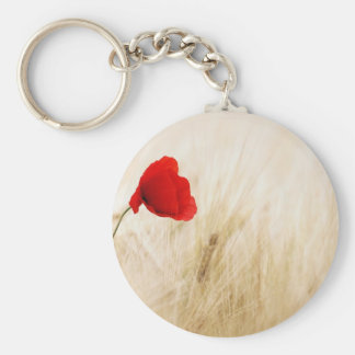 Red Poppy Flower in Field of Ripe Cereals Keychain