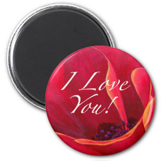 Red Poppy Flower Love Greetings 2 Inch Round Magnet