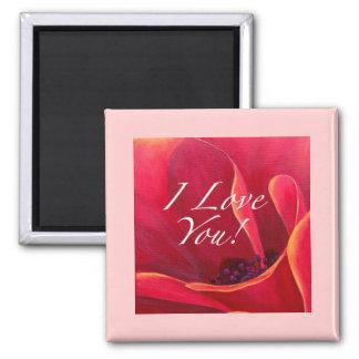 Red Poppy Flower Love Greetings 2 Inch Square Magnet