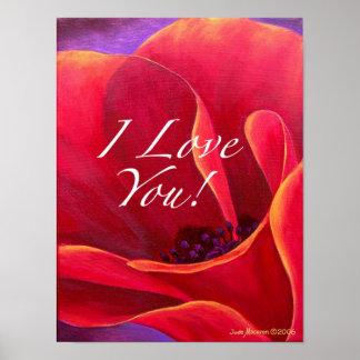 Red Poppy Flower Love Greetings Poster