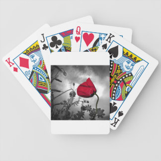 Red Poppy flower on Black and White Sky Poker Deck