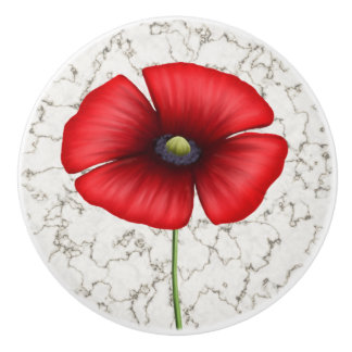 Red Poppy flower on faux marble background Ceramic Knob