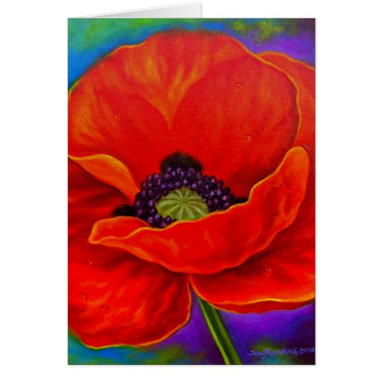 Red Poppy Flower Painting - Multi Card